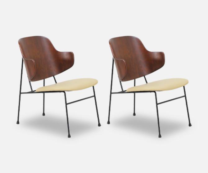 "Ib Kofod-Larsen ""Penguin"" Iron & Leather Lounge Chairs for Selig"