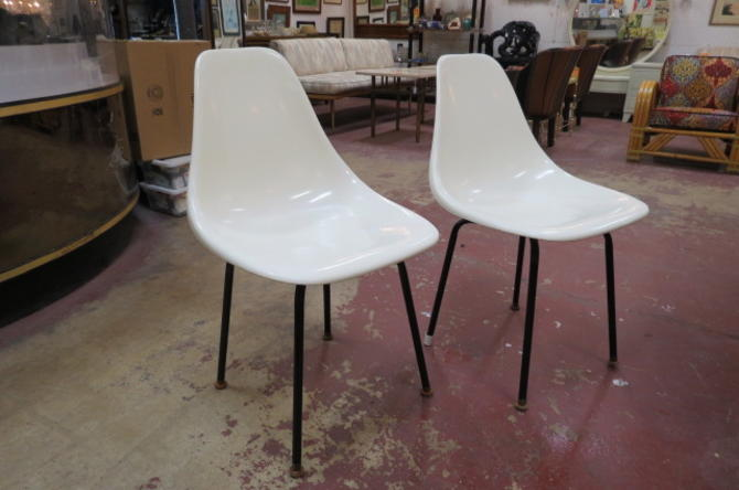 Vintage Mid century modern cream shell chairs