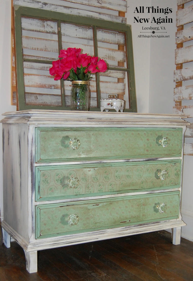 shabby chic dresser green and white painted dresser vintage dresser with pink flowers. Black Bedroom Furniture Sets. Home Design Ideas