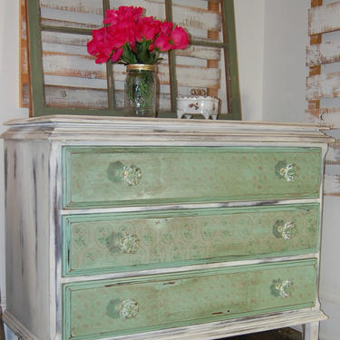 Shabby Chic Dresser   Green and White Painted Dresser   Vintage Dresser with Pink Flowers   Shabby Chic Bedroom Furniture   Chest of Drawers by AllThingsNewAgainVA