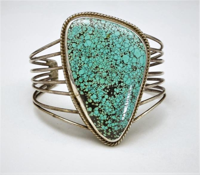Vintage Large Spider Web Turquoise Cuff Bracelet Silver Statement Modernist by HouseofVintageOnline