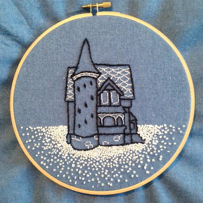 Snow Day Embroidery pattern - victorian  / queen anne house with turret by nonasuch
