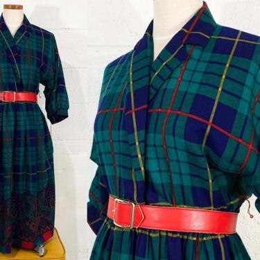 Vintage Plaid Dress Tartan Green Blue Navy Yellow Schoolgirl Windowpane V Neck Fit & Flare Red Belt Paisley Ornate 1970s 70s Medium Large by CheckEngineVintage