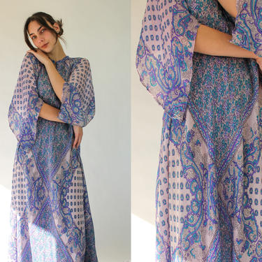 Vintage 70s Bohemian Silk Lilac Floral Paisley Print Maxi Dress w/ Fairy Cape Sleeves   Made in USA   1970s Boho Traditional Indian Dress by TheVault1969