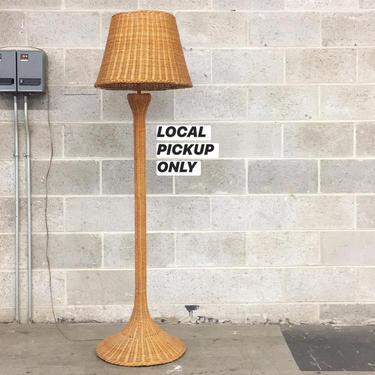 LOCAL PICKUP ONLY ———— Vintage Wicker Floor Lamp by RetrospectVintage215