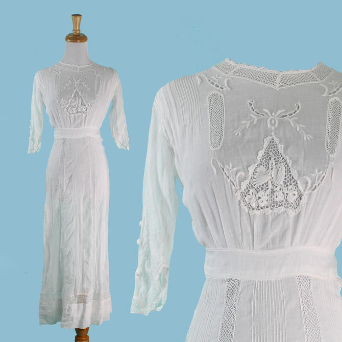 cc1201436e Antique Edwardian Lawn Dress Embroidered White Cotton Maxi Crochet ...