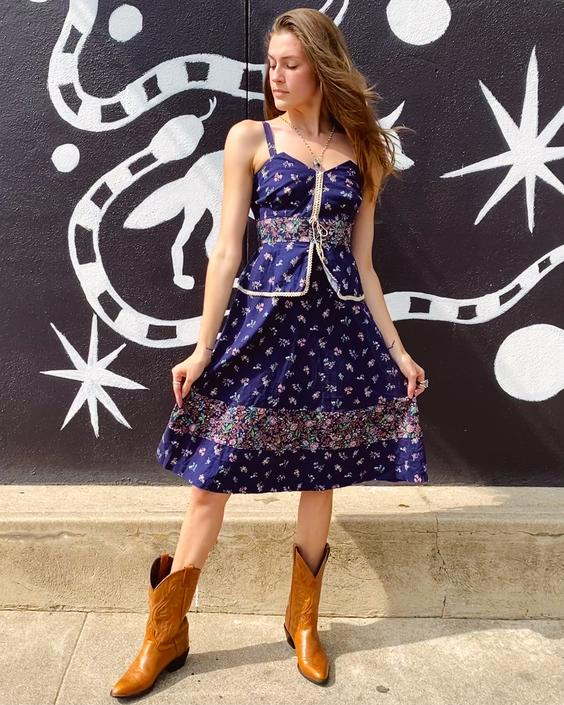 Blue Floral 70's Prairie Style Dress