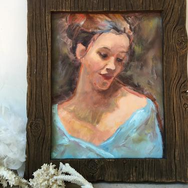 """Vintage Oil Portrait Woman In Light Blue, 11""""x14"""" Oil Painting Of Young Woman, Original Art, Impasto Portrait, Unsigned, Unframed by luckduck"""