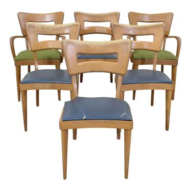 Set of 6 Mid-Century Modern Heywood Wakefield Champagne Dogbone Dining Chairs by AnnexMarketplace