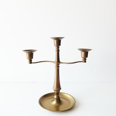Vintage Solid Brass Three-Arm Graduated Candelabra / Taper Candlestick Holder Made In Italy by ShopLantanaLane