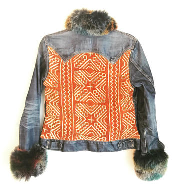 Rust & Rainbow Fur Jean Jacket