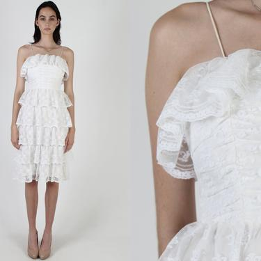 White Wedding Lace Dress / Sheer Floral Scallop Bridal Dress / Vintage 70s Tiered Layered Skirt / Skinny Formal Event Midi Mini Dress by americanarchive
