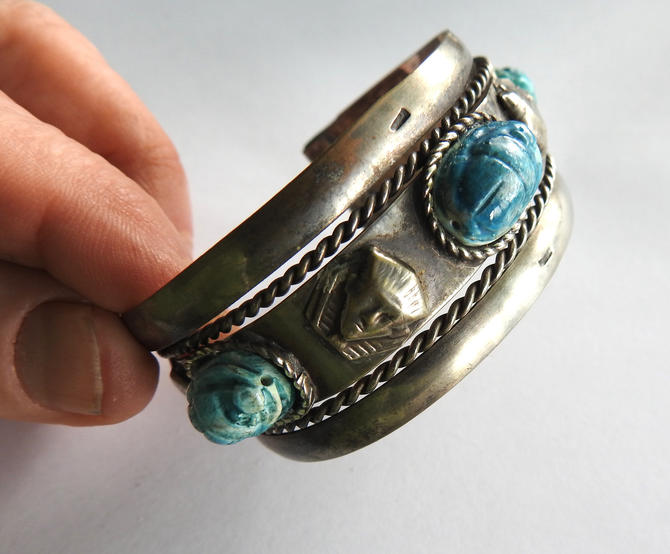Silver Cuff with Porcelain Scarabs and Pharaoh Heads by LegendaryBeast