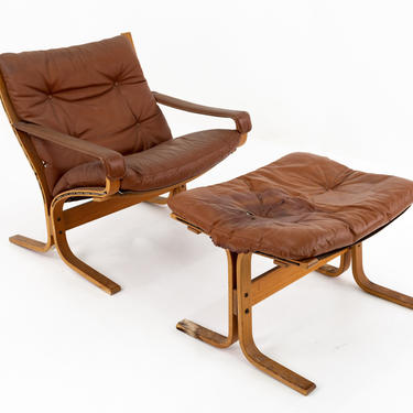 Ingmar Relling for Westnofa Mid Century Siesta Lowback Teak and Leather Lounge Arm Chair and Ottoman - mcm by ModernHill
