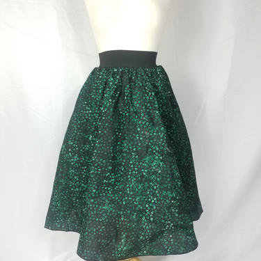 Blue green Batik knee length skirt (with elastic band and pockets) by GLAMMfashions