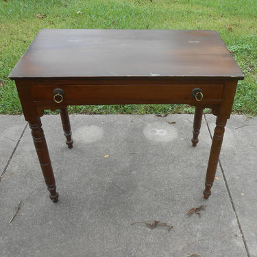 Antique Mahogany Writing Table Desk Sofa Table Console Table Original Condition Country Cottage Farmhouse Decor Accent Table Nightstand by kissmyattvintage