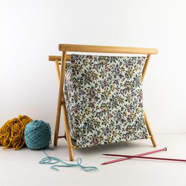 Vintage Folding Knitting Basket, Wood Framed and Floral Tapestry Fabric Tote Bag for Knitting, Crochet, Sewing, Crafts by PebbleCreekGoods