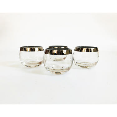 Mid Century Silver Rimmed Roly Poly Cordial Glasses / Set of 4 by SergeantSailor