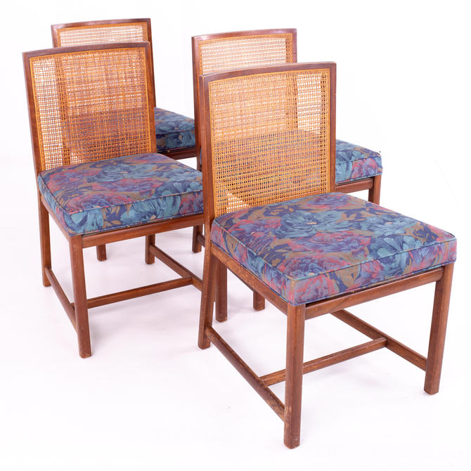 Michael Taylor for Baker Mid Century Caned Walnut Dining Chairs - Set of 4 - mcm by ModernHill