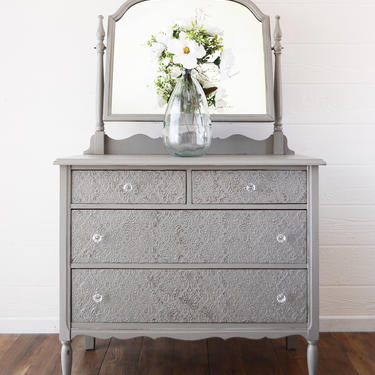 SOLD Gray Antique 4 Drawer Dresser - Mirror - Damask Raised Stencil, Shabby Chic Entry Console, Nursery Furniture, Glass Hardware, Painted by ARayofSunlight