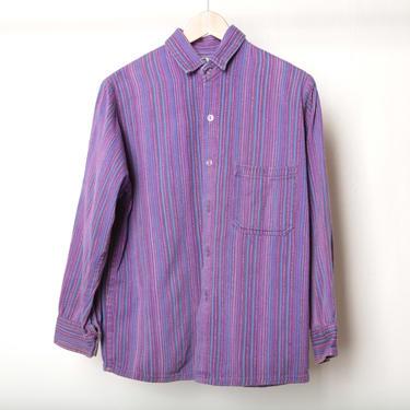 vintage GURU boxy long sleeve ikat purple cotton UNIQUE shirt -- size small men's shirt by CairoVintage