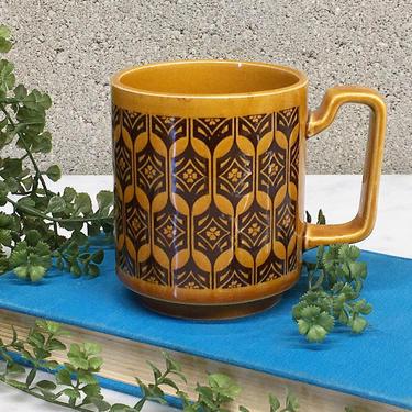 Vintage Coffee Mug Retro 1970s Bohemian + Golden Mustard and Brown Color + Ceramic + Boho Flower Print + Kitchen Decor and Drinkware by RetrospectVintage215