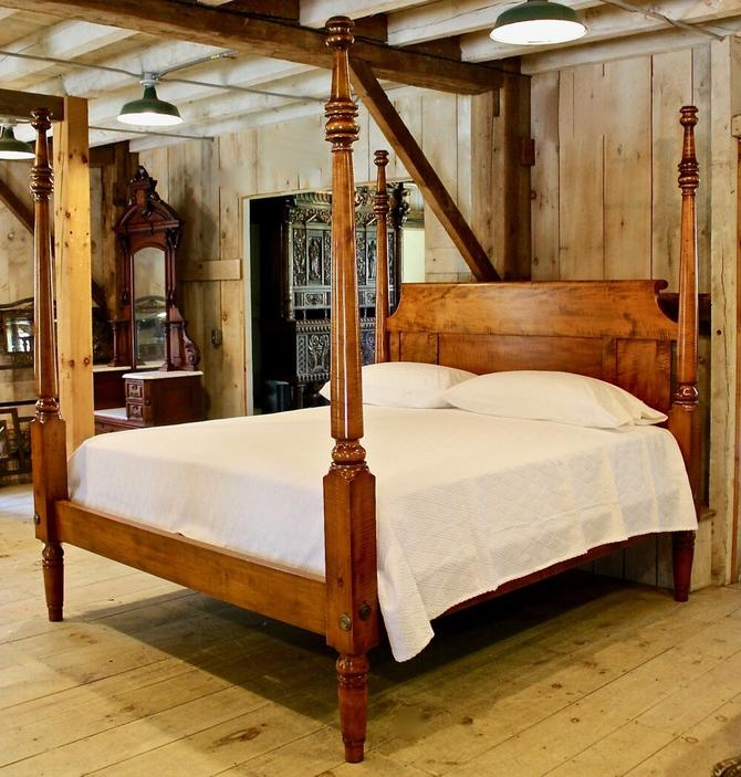Empire Tall Post Bed in Tiger Maple, Original Posts Circa 1830, Resized to King