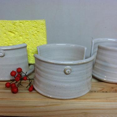 handmade sponge holder, ceramic sponge holder, white sponge holder, kitchen sponge holder, napkin holder, letter holder by altheaspottery