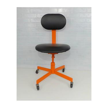 Orange & Black Mid Century Modern Office Chair Vintage Dental Tattoo Salon Doctor Adjustable Tanker Desk Mechanical Age Industrial Rolling by MakingMidCenturyMod