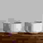 Brown Stoneware Teabowl with White Glaze