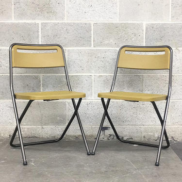 Vintage Folding Chairs Retro 1970s Cosco + Mid Century Modern + Set of 2 Matching + Yellow Plastic + Brown Metal + Seating and Furniture by RetrospectVintage215