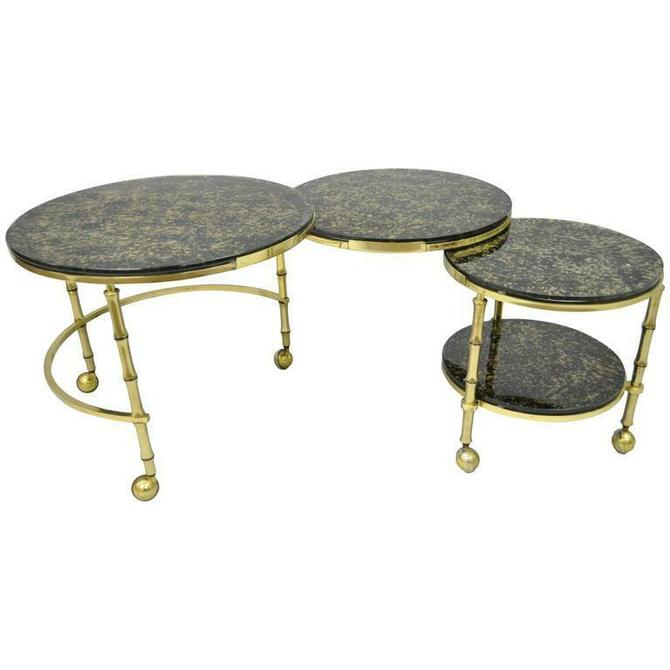 Brass and Glass Faux Bamboo Round Nesting Expanding Cocktail Coffee Side Table