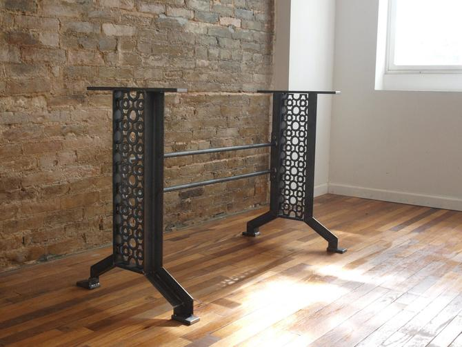 Elegant French Industrial Iron table desk base by CamposIronWorks