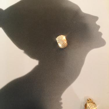 1980s wide hoops, chunky hoop earrings, vintage 80s earrings, pave set rhinestones, clip on earrings, classic style, rhinestone hoop earring by BlackLabelVintageWA
