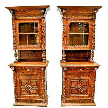 Antique Cupboards, French Matched Pair, Carved Wood, 92 1/2 H., Set of 2, 1800s!