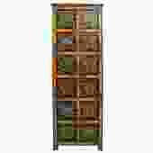 Chinese Tibetan Floral Graphic Tall Slim Multi Shelves Cabinet cs3124S