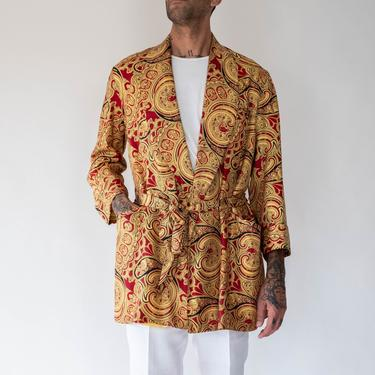 Vintage 50s 60s Robes by Stafford for The Emporium San Francisco Scarlet & Gold Paisley Silk Blend Smoking Jacket   1950s 1960s Smoking Robe by TheVault1969