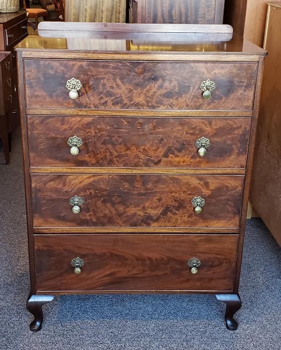 Item #S19 Burl Walnut Chest of Drawers c,.1940s