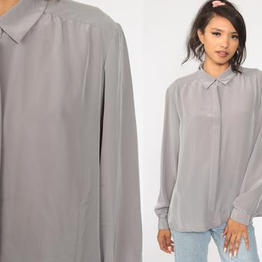 Grey Blouse Plain Shirt Long Sleeve Top 80s Button Up Shirt Collared 1980s Silky Blouse Basic Large by ShopExile