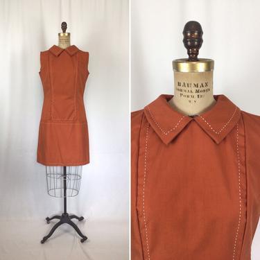 Vintage 60s dress   Vintage pumpkin orange mod dress   1960s saffron top stitch shift mini dress by BeeandMason