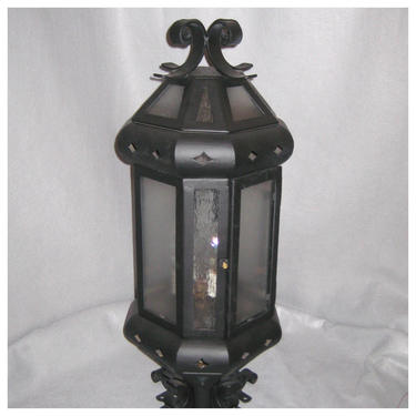 A8319.....Two Vintage 1920's-30's of Iron Newell Post Lanterns by bbbantiques
