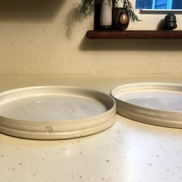 handmade dinner plates, handmade dinnerware, ceramic plates, pottery dishes, place settings, wedding registry, dinnerware, white dinnerware by altheaspottery
