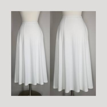 Vintage 90s White Jersey Skirt, Small / Casual Cotton Day Skirt / Flared Panel Skirt with Pockets / Soft White Fabric Elastic Waist Skirt by SoughtClothier