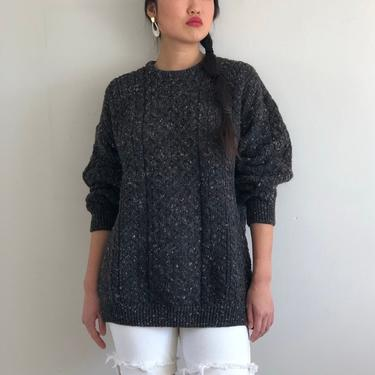 80s hand knit fisherman sweater / vintage gray speckled wool handknit Irish fishermen's cable knit Aran Donegal oversized sweater | L by RecapVintageStudio