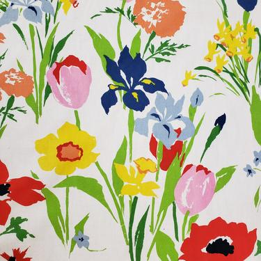 Vintage 1960's Floral Fabric / 60s Daffodil, Iris, Tulip Print Fabric by SilhouettetsyVintage