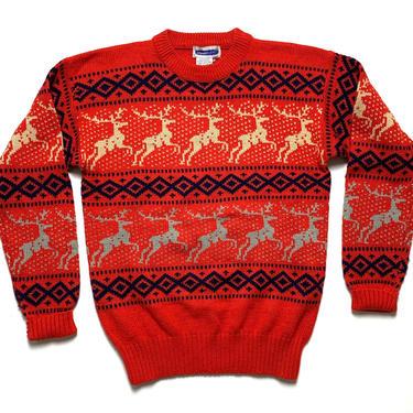 Vintage 1970s Holiday Sweater ~ men's S / women's M ~ Reindeer / Moose ~ Christmas / Xmas ~ Rockabilly ~ Ski / Skiing ~ by SparrowsAndWolves