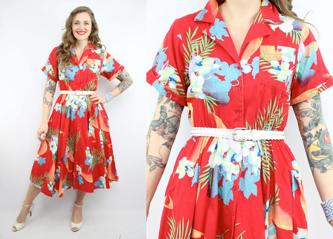 e2c3d9cae90f Vintage 80's Red Hawaiian Floral Dress / 1980's Tropical ...