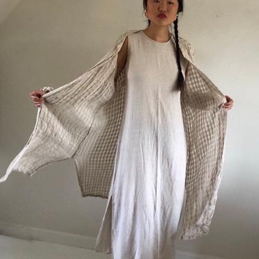 90s gauzy linen duster / vintage oatmeal sheer linen open weave windowpane open front duster coverup resort wear dress | XL by RecapVintageStudio