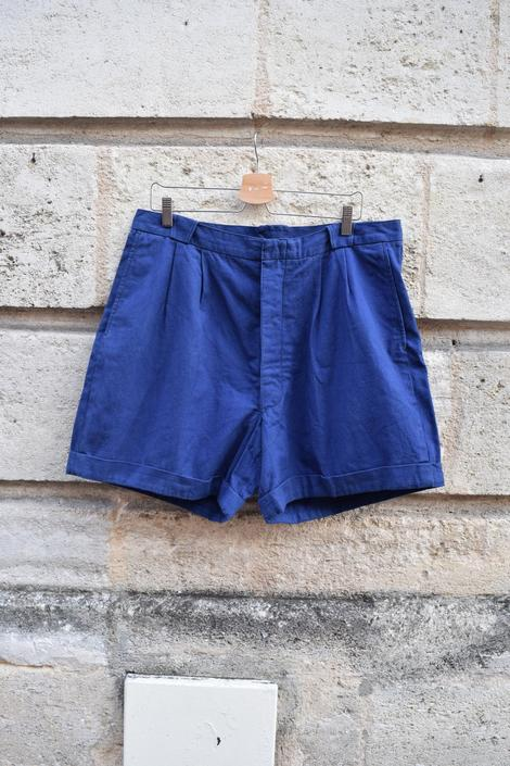 30s French Indigo Workwear Button Fly Shorts // Soft Cotton Pleated Holiday High Waist Trousers // L XL 37 by banjocatvintage