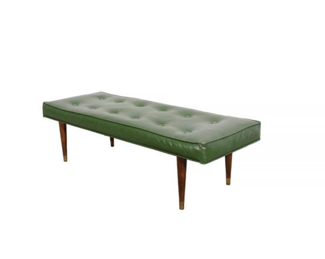 Admirable Ottoman With Brass Tipped Peg Legs Naughahyde Bench 1960 Mid Machost Co Dining Chair Design Ideas Machostcouk